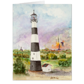 Cape Canaveral Lighthouse Rocket Launch Watercolor Card