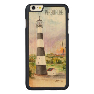 Cape Canaveral Lighthouse Rocket Launch Watercolor Carved Maple iPhone 6 Plus Slim Case