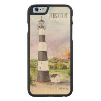Cape Canaveral Lighthouse Rocket Launch Watercolor Carved Maple iPhone 6 Slim Case