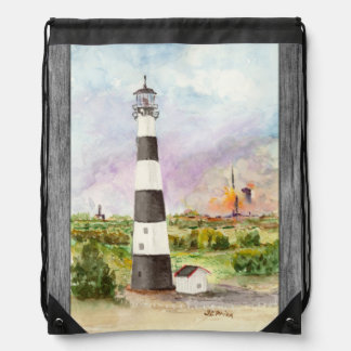 Cape Canaveral Lighthouse Rocket Launch Watercolor Drawstring Bag