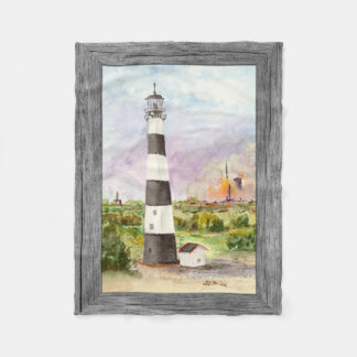 Cape Canaveral Lighthouse Rocket Launch Watercolor Fleece Blanket