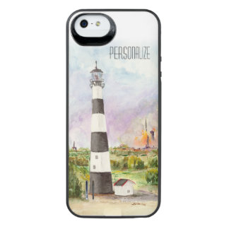 Cape Canaveral Lighthouse Rocket Launch Watercolor iPhone SE/5/5s Battery Case