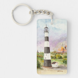 Cape Canaveral Lighthouse Rocket Launch Watercolor Rectangular Acrylic Key Chain