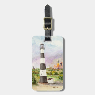 Cape Canaveral Lighthouse Rocket Launch Watercolor Travel Bag Tag