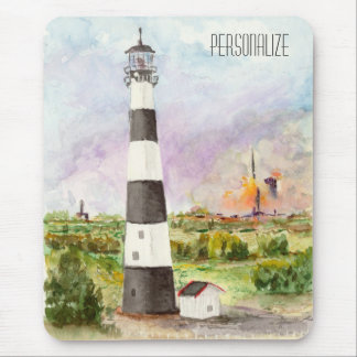 Cape Canaveral Lighthouse Rocket Launch Watercolor Mouse Pad