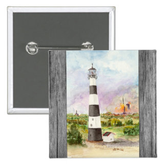 Cape Canaveral Lighthouse Rocket Launch Watercolor Pinback Button