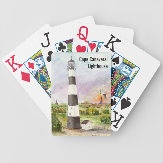 Cape Canaveral Lighthouse Rocket Launch Watercolor Bicycle Playing Cards