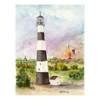 Cape Canaveral Lighthouse Rocket Launch Watercolor Post Cards