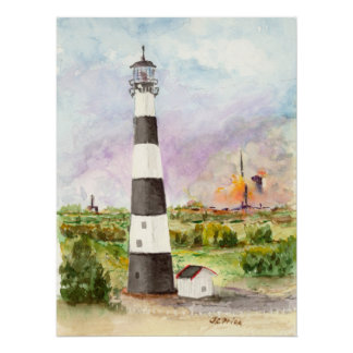 Cape Canaveral Lighthouse Rocket Launch Watercolor Poster