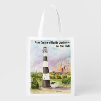 Cape Canaveral Lighthouse Rocket Launch Watercolor Reusable Grocery Bag