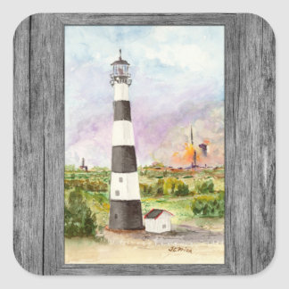 Cape Canaveral Lighthouse Rocket Launch Watercolor Square Sticker