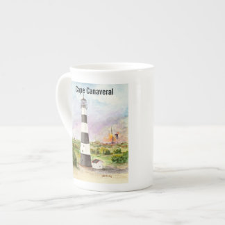 Cape Canaveral Lighthouse Rocket Launch Watercolor Tea Cup