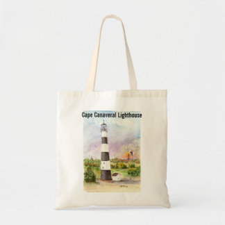 Cape Canaveral Lighthouse Rocket Launch Watercolor Tote Bag