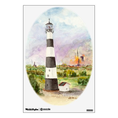 Cape Canaveral Lighthouse Rocket Launch Watercolor Wall Sticker