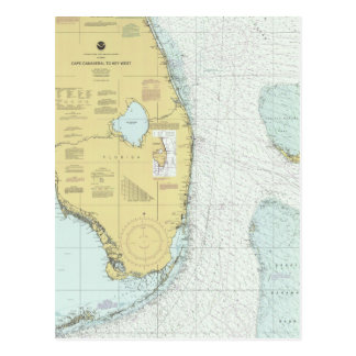 Cape Canaveral to Key West Nautical Chart Postcard