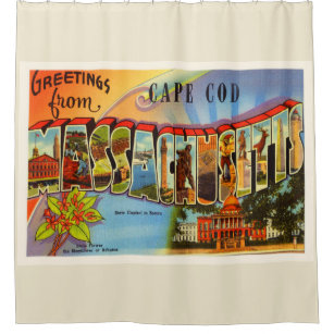 Cape Cod 2 Massachusetts MA Old Travel Souvenir Shower Curtain