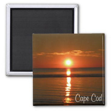 Beach Themed Cape Cod Beach Red unset Photo Magnet