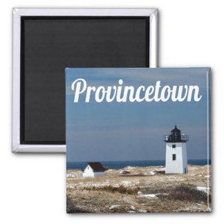 Cape Cod, faro de Provincetown Massachusetts Imán Cuadrado