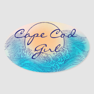 Cape Cod Girl Oval Stickers (4 per sheet)