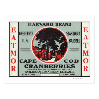 Cape Cod Harvard Eatmor Cranberries Brand Postcard