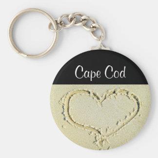 Cape Cod Heart on a Sandy Beach Key Chain