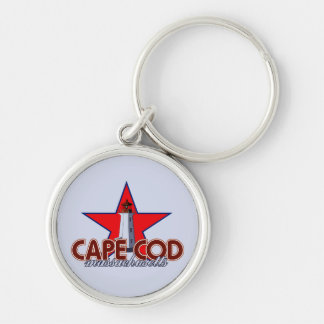 Cape Cod Lighthouse Silver-Colored Round Keychain