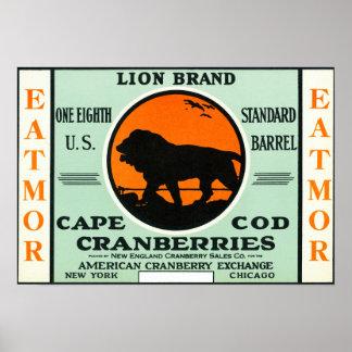 Cape Cod Lion Eatmor Cranberries Brand Label Poster