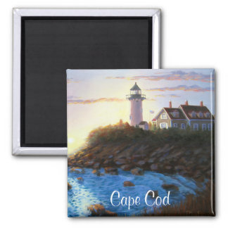 Cape Cod MA Nobska Lighthouse Painting Magnet