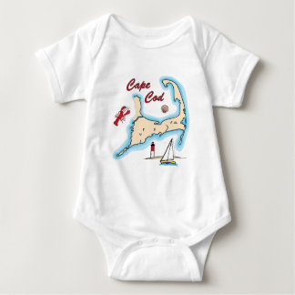 Cape Cod Map Illustration Lobster Sailboat Shell Baby Bodysuit