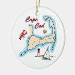 Cape Cod Map Illustration Lobster Sailboat Shell Ceramic Ornament