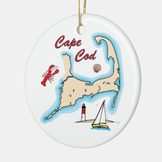 Cape Cod Map Illustration Lobster Sailboat Shell Ceramic Ornament