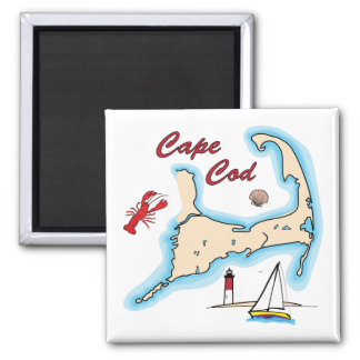 Cape Cod Map Illustration Lobster Sailboat Shell Magnet