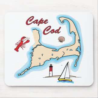 Cape Cod Map Illustration Lobster Sailboat Shell Mouse Pad