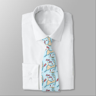 Cape Cod Map Illustration Lobster Sailboat Shell Neck Tie