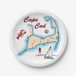Cape Cod Map Illustration Lobster Sailboat Shell Paper Plate  sc 1 st  Zazzle & Lobster Illustration Plates | Zazzle