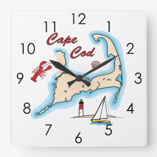 Cape Cod Map Illustration Lobster Sailboat Shell Square Wall Clock