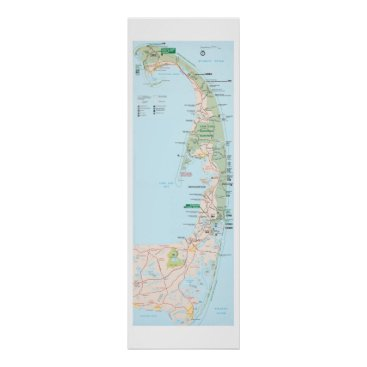 Beach Themed Cape Cod Map Poster