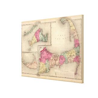 Cape Cod, Martha's Vineyard & Nantucket Map (1871) Canvas Print