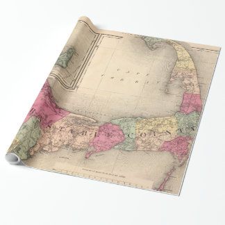 Cape Cod, Martha's Vineyard & Nantucket Map (1871) Wrapping Paper