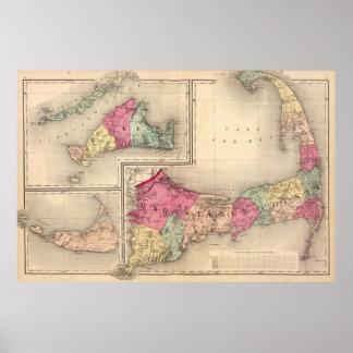Cape Cod, Martha's Vineyard y mapa de Nantucket Póster