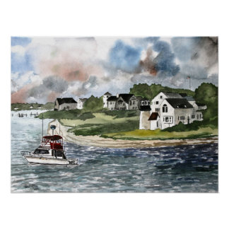 Cape Cod Massachusetts Lighthouse and boat Poster
