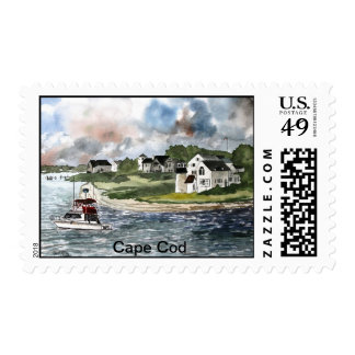 Cape Cod Massachusetts Lighthouse and boat Stamp