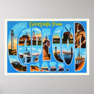 Cape Cod Massachusetts MA Vintage Travel Souvenir Poster