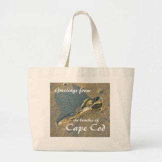 Cape Cod Massachusetts - Shell & Surf Large Tote Bag