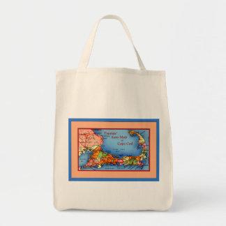 Cape Cod Massachusetts Tourists Auto Map Canvas Bag