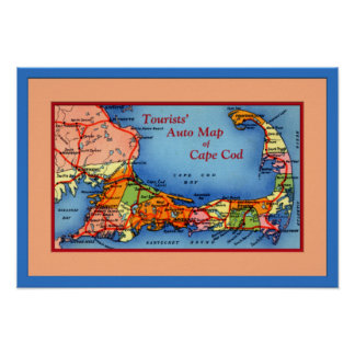 Cape Cod Massachusetts Tourists Auto Map Poster