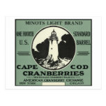 Cape Cod Minots Light Brand Cranberry Label Post Card