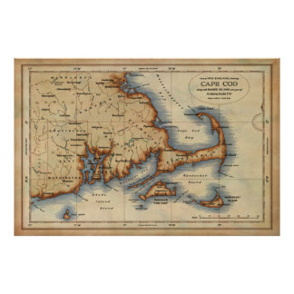 Cape Cod Nautical Map Poster