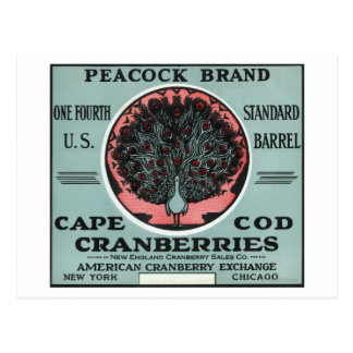 Cape Cod Peacock Brand Cranberry Label Postcard