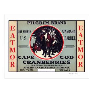 Cape Cod Pilgrim Eatmor Cranberries Brand Postcard
